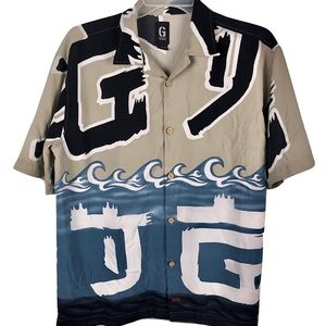 Vintage Guess Jeans Hawaiian Button Shirt Waves L